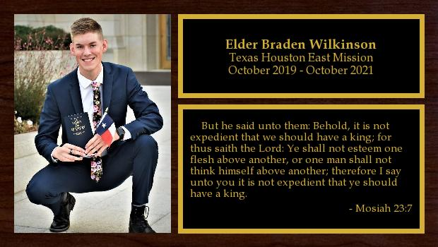 October 2019 to October 2021<br/>Elder Braden Wilkinson