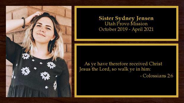 October 2019 to April 2021<br/>Sister Sydney Jensen