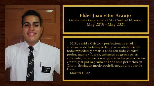 May 2019 to May 2021<br/>Elder João vitor Araujo