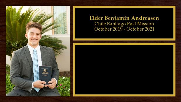October 2019 to October 2021<br/>Elder Benjamin Andreasen