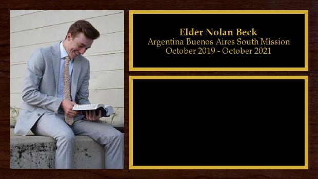 October 2019 to October 2021<br/>Elder Nolan Beck
