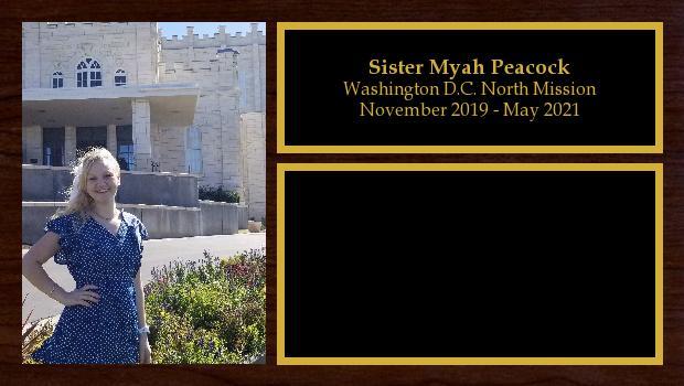 November 2019 to May 2021<br/>Sister Myah Peacock