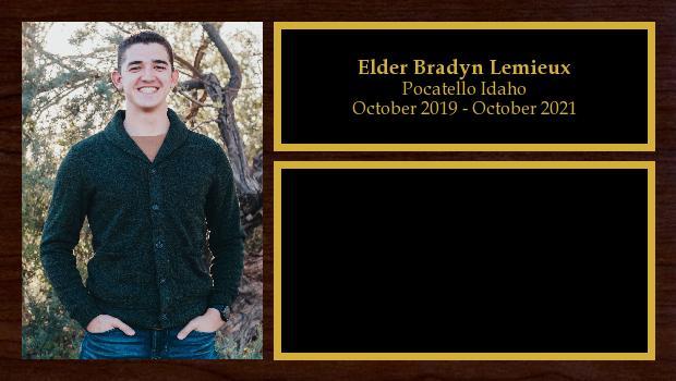 October 2019 to October 2021<br/>Elder Bradyn Lemieux