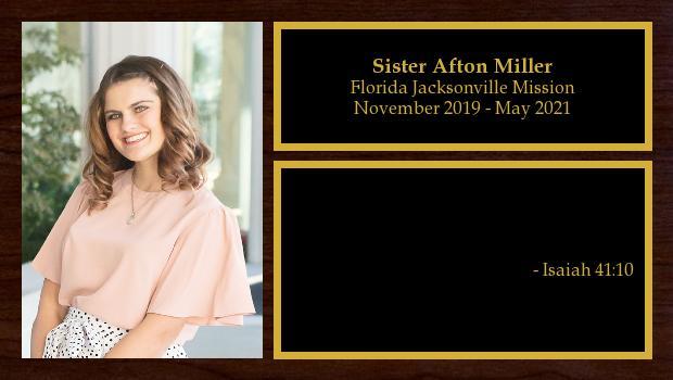 November 2019 to May 2021<br/>Sister Afton Miller