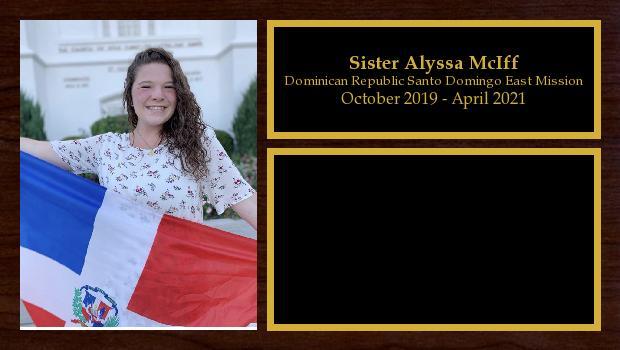 October 2019 to April 2021<br/>Sister Alyssa McIff