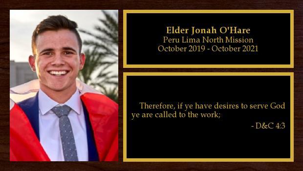 October 2019 to October 2021<br/>Elder Jonah O'Hare