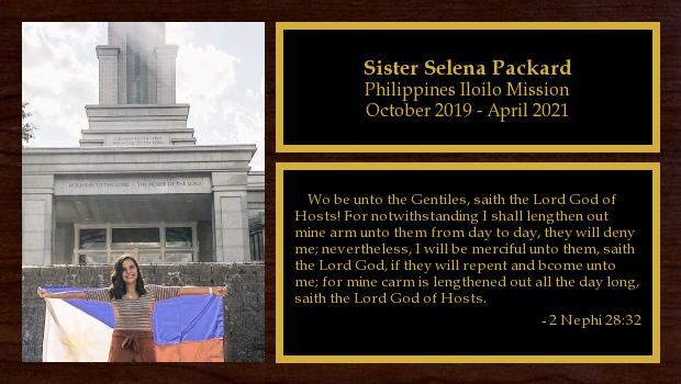 October 2019 to April 2021<br/>Sister Selena Packard