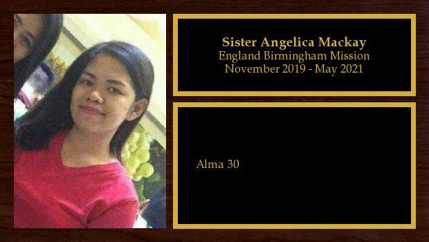 November 2019 to May 2021<br/>Sister Angelica Mackay