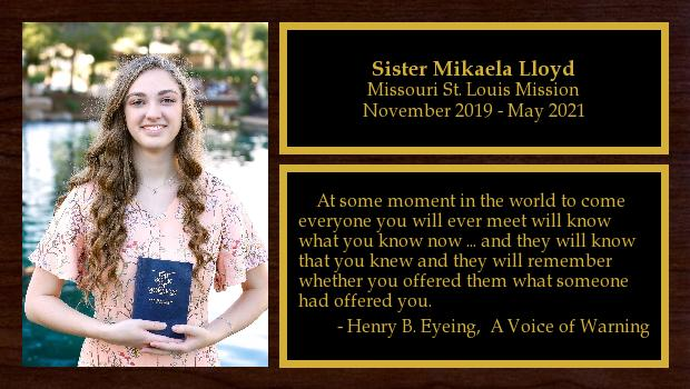 November 2019 to May 2021<br/>Sister Mikaela Lloyd