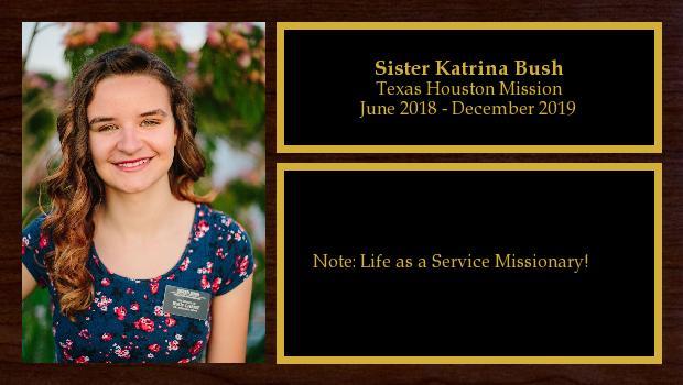 June 2018 to December 2019<br/>Sister Katrina Bush