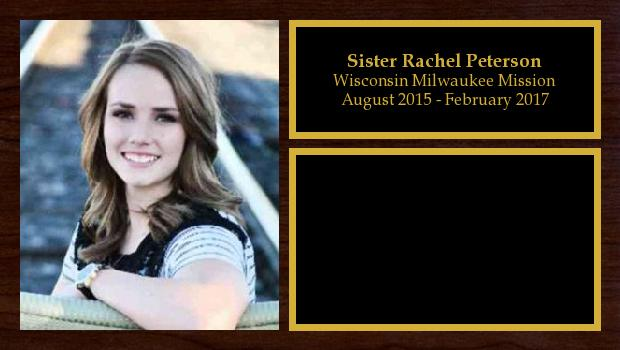 August 2015 to February 2017<br/>Sister Rachel Peterson