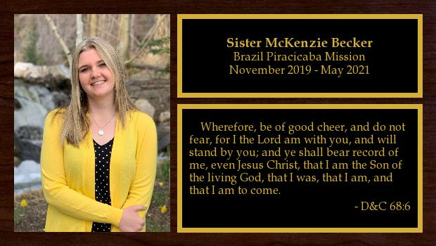 November 2019 to May 2021<br/>Sister McKenzie Becker