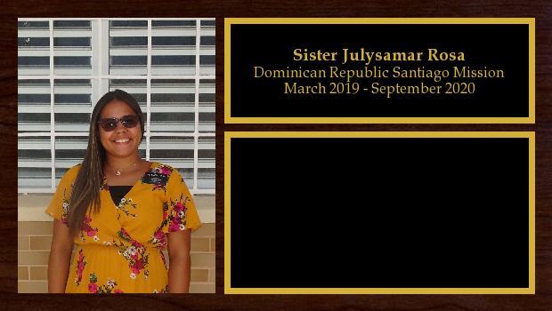 March 2019 to September 2020<br/>Sister Julysamar Rosa