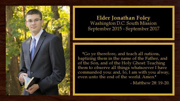 September 2015 to September 2017<br/>Elder Jonathan Foley