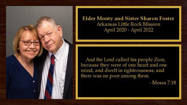 April 2020 to April 2022<br/>Elder Monty and Sister Sharon Foster