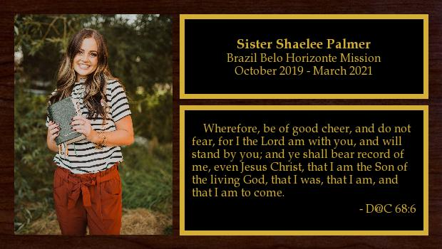 October 2019 to March 2021<br/>Sister Shaelee Palmer