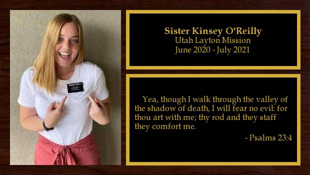 January 2020 to July 2021<br/>Sister Kinsey O'Reilly