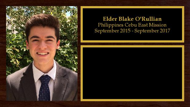 September 2015 to September 2017<br/>Elder Blake O'Rullian