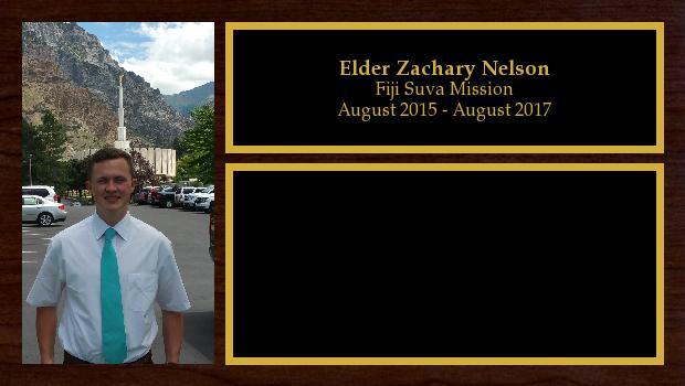 August 2015 to August 2017<br/>Elder Zachary Nelson