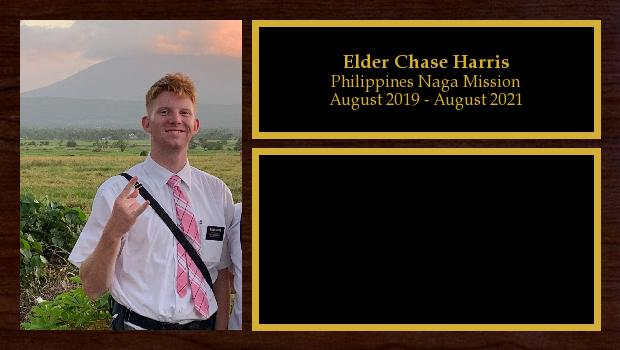 May 2020 to August 2021<br/>Elder Chase Harris