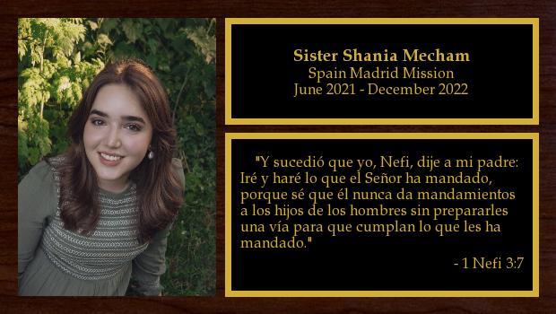 June 2021 to December 2022<br/>Sister Shania Mecham