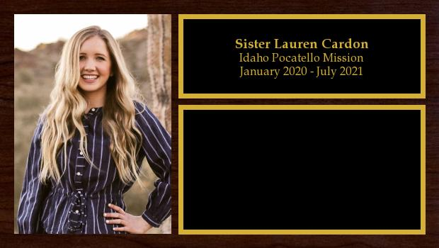 January 2020 to July 2021<br/>Sister Lauren Cardon