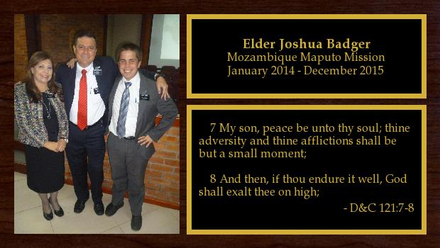January 2014 to December 2015<br/>Elder Joshua Badger