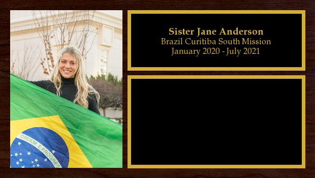 January 2020 to July 2021<br/>Sister Jane Anderson