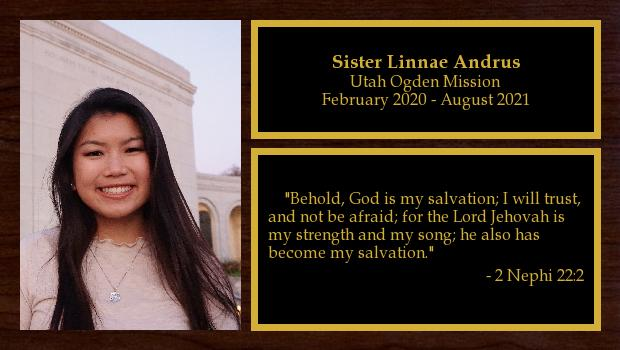 February 2020 to August 2021<br/>Sister Linnae Andrus