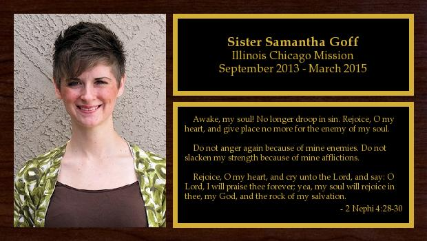 September 2013 to March 2015<br/>Sister Samantha Goff