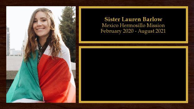 February 2020 to August 2021<br/>Sister Lauren Barlow