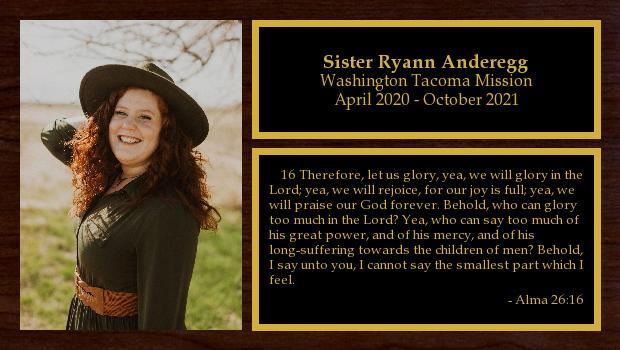 April 2020 to October 2021<br/>Sister Ryann Anderegg