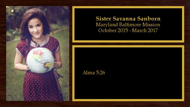 October 2015 to March 2017<br/>Sister Savanna Sanborn