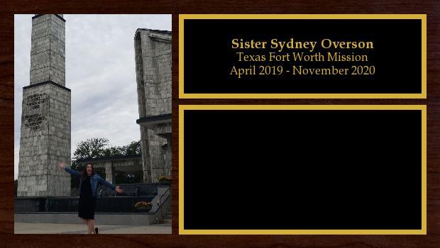 April 2019 to November 2020<br/>Sister Sydney Overson