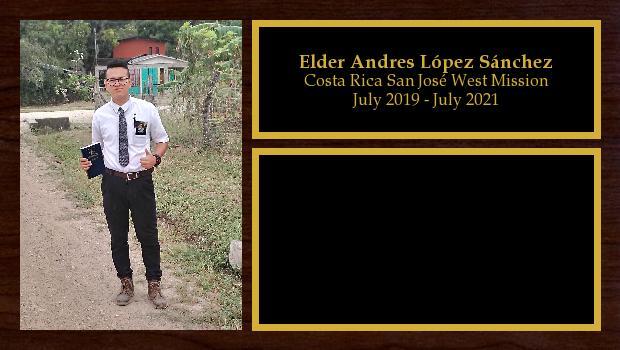 July 2019 to July 2021<br/>Elder Andres López Sánchez