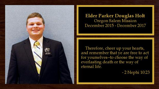 December 2015 to December 2017<br/>Elder Parker Douglas Holt