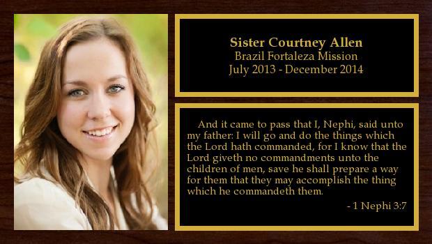 July 2013 to December 2014<br/>Sister Courtney Allen