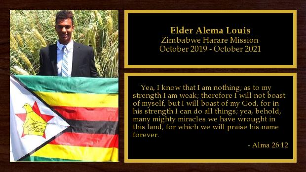 October 2019 to October 2021<br/>Elder Alema Louis