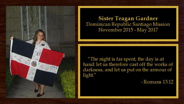 November 2015 to May 2017<br/>Sister Teagan Gardner