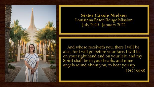 July 2020 to January 2022<br/>Sister Cassie Nielsen