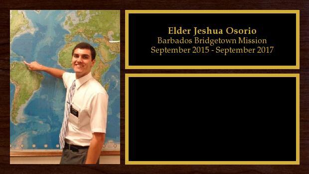 September 2015 to September 2017<br/>Elder Jeshua Osorio