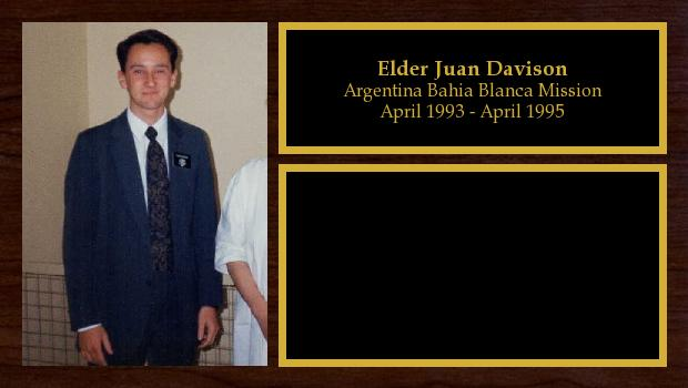 April 1993 to April 1995<br/>Elder Juan Davison