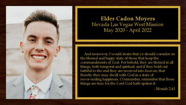 May 2020 to April 2022<br/>Elder Cadon Moyers