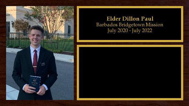 July 2020 to July 2022<br/>Elder Dillon Paul