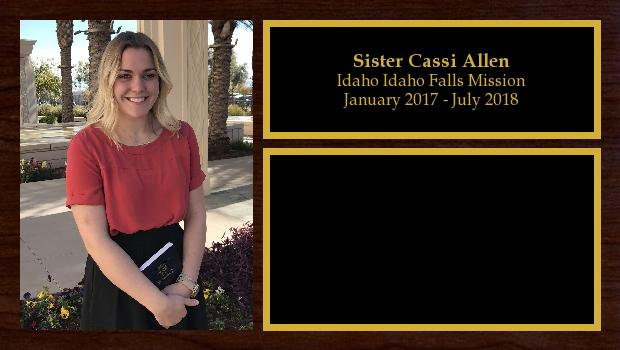 January 2017 to July 2018<br/>Sister Cassi Allen