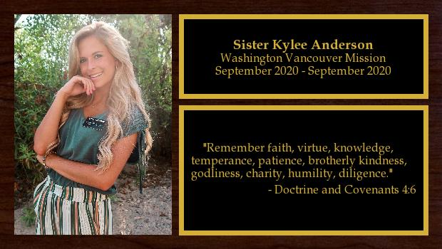 July 2020 to December 2021<br/>Sister Kylee Anderson