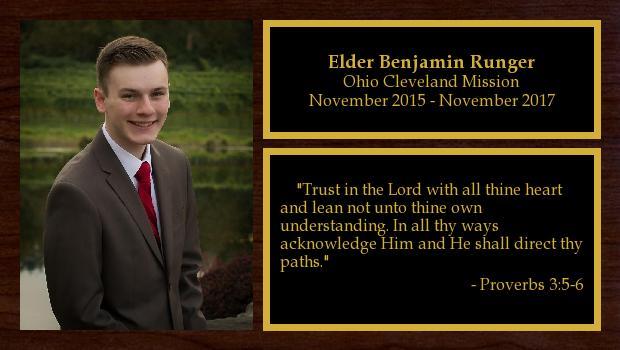 November 2015 to November 2017<br/>Elder Benjamin Runger