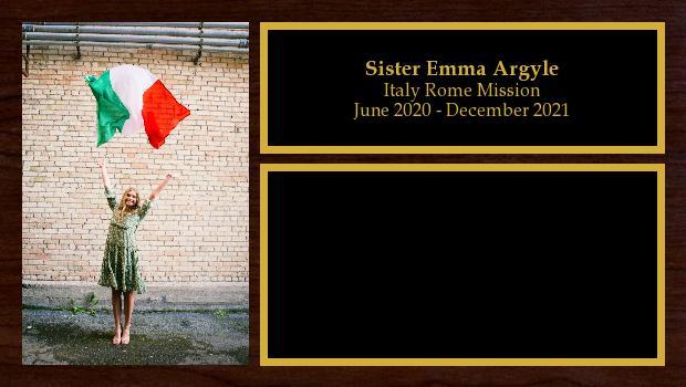 June 2020 to December 2021<br/>Sister Emma Argyle