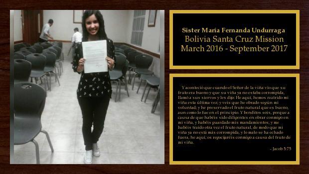March 2016 to September 2017<br/>Sister María Fernanda Undurraga