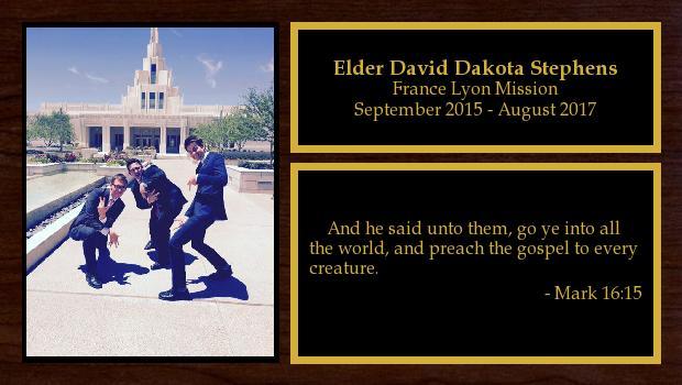 September 2015 to August 2017<br/>Elder David Dakota Stephens